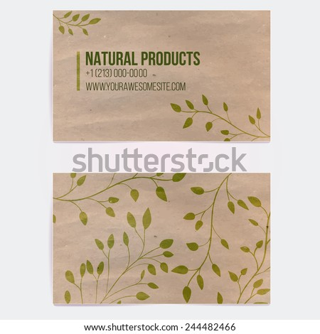 Two sided business card for natural cosmetics store or other eco friendly product. Hand drawn on craft paper branches and plants. Vector template. - stock vector