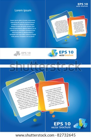 Two sided vector brochure design with place for text - stock vector