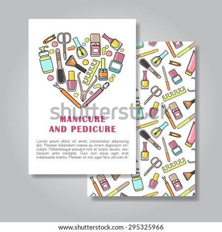 Two sides invitation card design with manicure and pedicure illustration background. Vector design template for card, letter, banner, flyer.