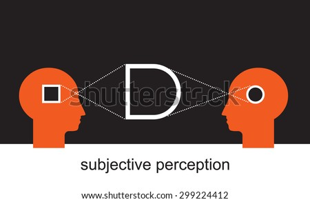 two sides of the story, subjective visual experience - stock vector