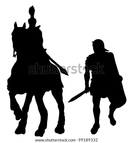 Two silhouettes of Ancient Greek soldiers - stock vector