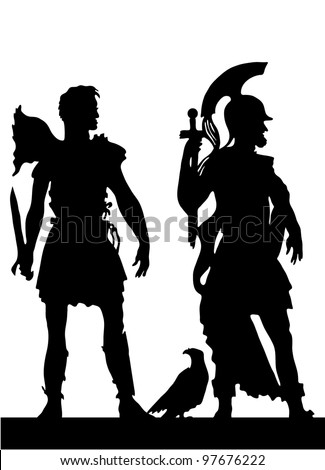 Two silhouettes of the Greek soldiers - stock vector