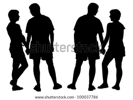 Two silhouettes of young romantic pair. Isolated on white background. - stock vector