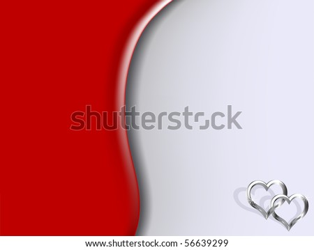 Two silver hearts on red background