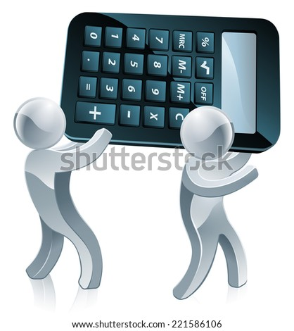 Two silver people holding a massive calculator on their shoulders