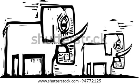 Two simply designed woodcut style elephants with tusks. - stock vector