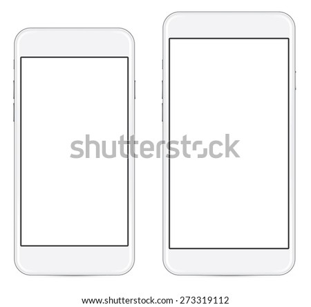 two sizes of white mobile smartphone with blank screen isolated on white background, side by side. eps 10 vector illustration - stock vector