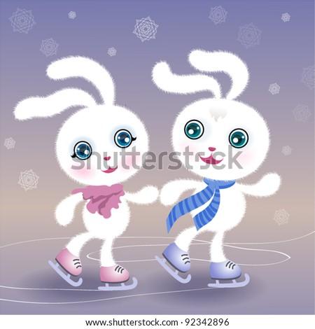 Two skating rabbits - stock vector