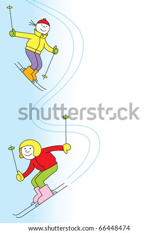 Two skiers on the slopes, place for text,