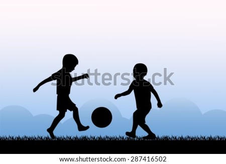 Two small boys kicking a ball on the grass - stock vector