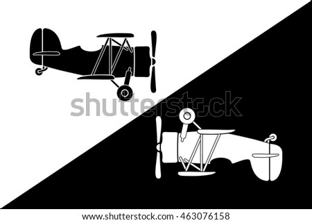 Two Small Retro Airplane Silhouettes Yin Yang Style Composition