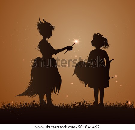 two small witches with wand and sparkls standing on grass, two small girl in witch dress, halloween for kids, vector