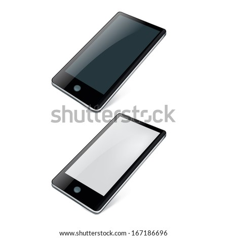 two smart phones isolated on white background