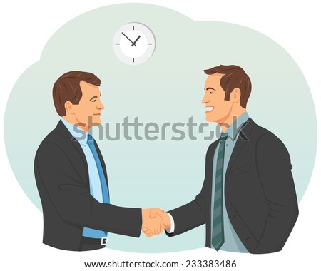 Two smiling businessman in suits are handshaking