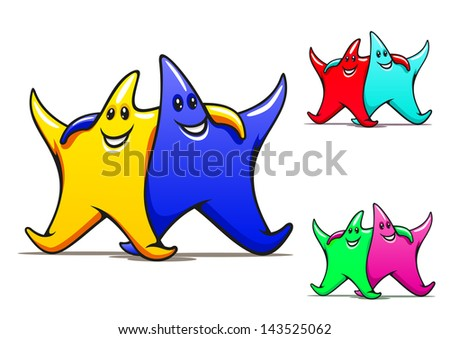 Two smiling friendly stars in cartoon style for mascot or another design or idea of logo. Jpeg version also available in gallery - stock vector