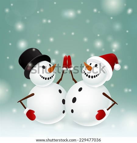 Two smiling snowmen on dark background and snow - stock vector