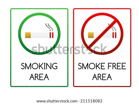 Two smoking signs - for smoking area and non-smoking (smoke free) area - stock vector