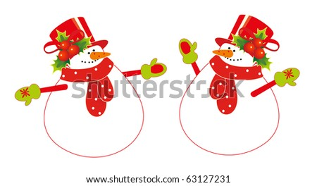 two snowman - stock vector