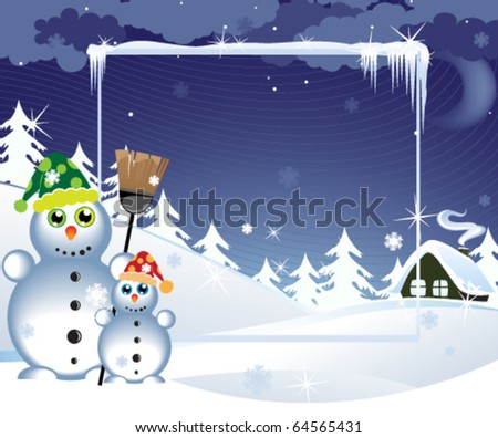 Two snowmen in the bright hats near a lonely hut - stock vector