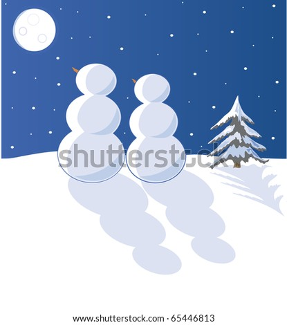 two snowpeople gazing at the moon - stock vector