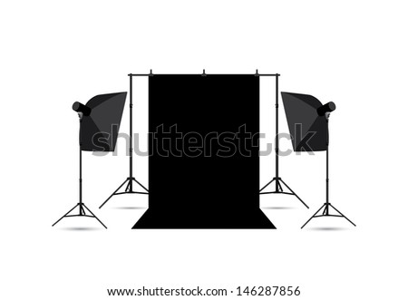 Two softboxes and black photo background isolated on white. - stock vector