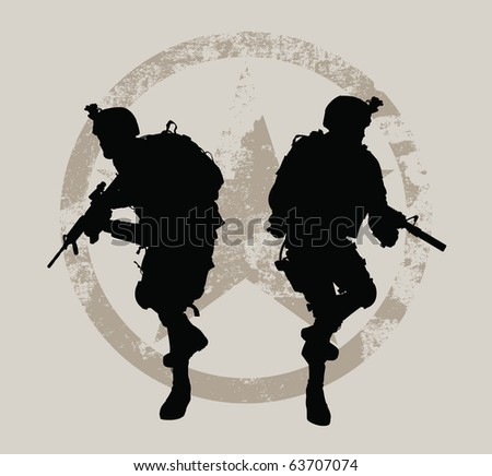 Two soldiers with grunge star at the background - stock vector