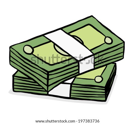 two stack of green bank notes/ cartoon vector and illustration, hand drawn style, isolated on white background. - stock vector