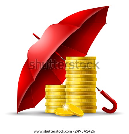 Two stacks of golden coins under an red umbrella - stock vector