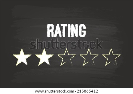 Two Star Rating On Blackboard With White Chalk - stock vector