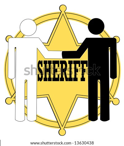 two stick figure people giving handshake with sheriff badge in background - police concept - stock vector
