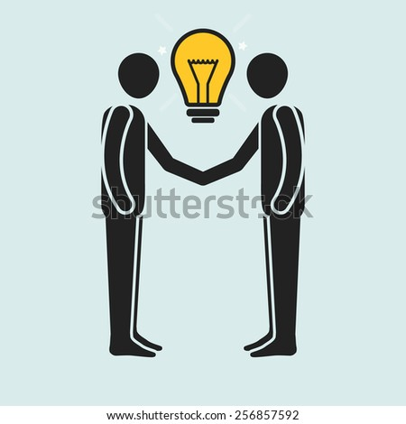 Two stick man figures shaking hands and exchanging ideas vector illustration. - stock vector