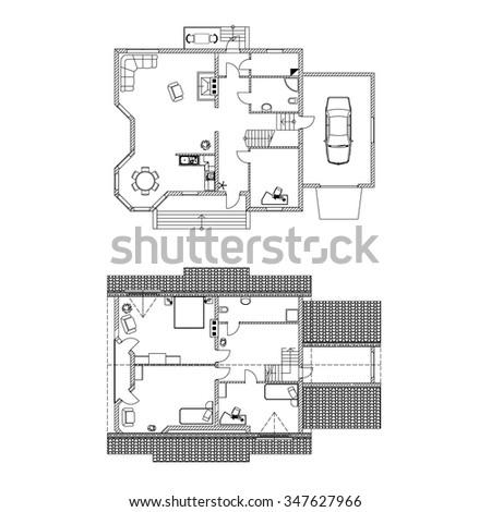 Two Storey Floor Plan. Vector illustrations. - stock vector