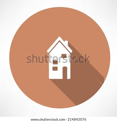 two-storey house icon - stock vector