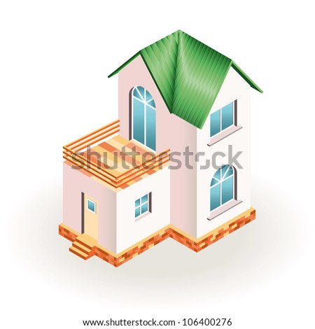 Two story small house with terrace and green roof. Three dimensional drawing