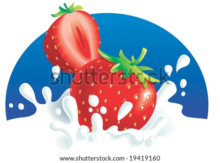 Two strawberries splashing in milk, blue background. Vector illustration - stock vector
