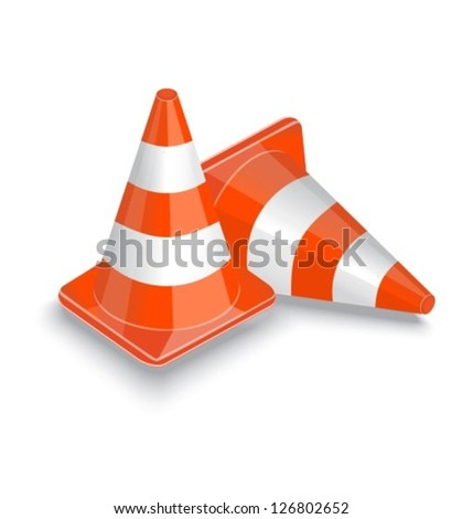 two striped orange traffic cone on a white background - stock vector