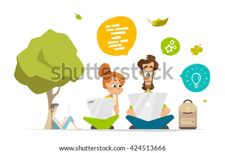 Two students characters with computer notebook laptop in a park Flat web vector illustration for infographics - stock vector