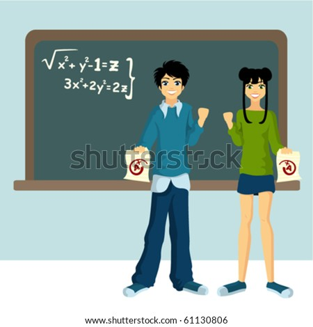 two students with blackboard - stock vector