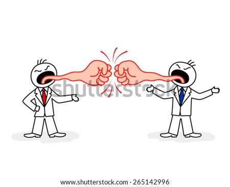 Two stylized figures of disgruntled men in suit and neckties with tongues in form of fists  - stock vector