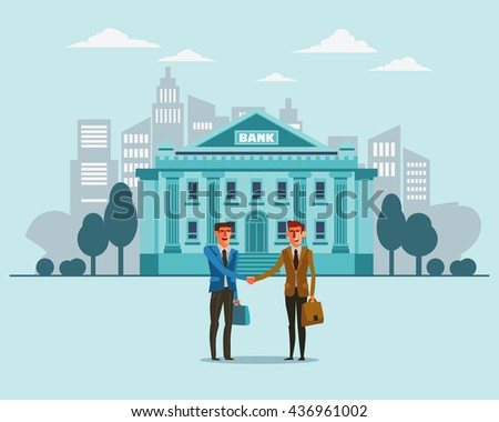 Two successful and smiling businessmen shake hands. Bank building in city street. Partnership, cooperation, international collaboration and teamwork in business concept. Modern design illustration - stock vector