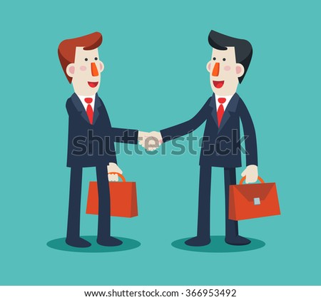 Two successful and smiling businessmen shake hands. Partnership, cooperation, international collaboration and teamwork in business vector concept. Modern design illustration - stock vector