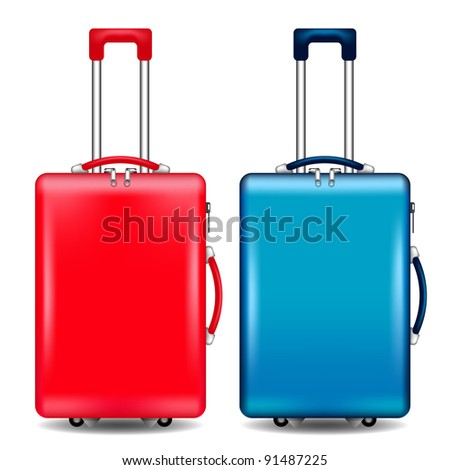 two suitcases vector - stock vector