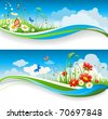 Two  summer natural banners with flowes and blue sky - stock photo
