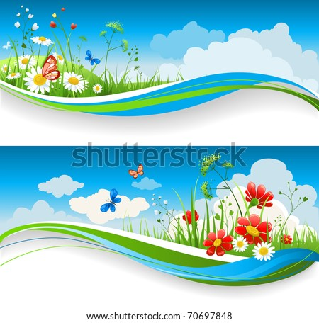 Two  summer natural banners with flowes and blue sky - stock vector