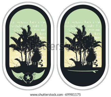 two surf grunge label with summer background - stock vector