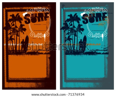 two surf poster with summer coast scene - stock vector