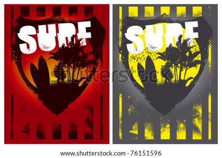 two surf poster with summer shield inside - stock vector