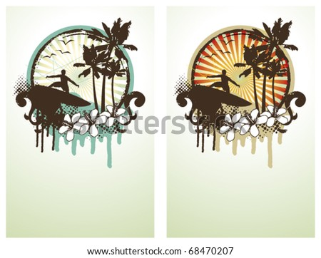 two surf poster with surfer and beach - stock vector