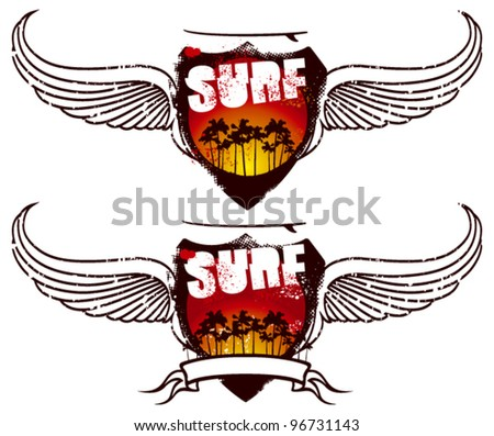 two surf shield with banner sunset and wings - stock vector