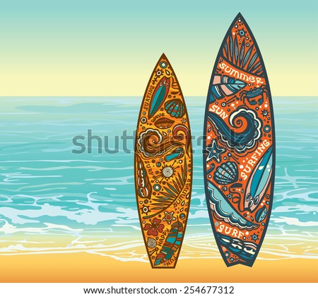 Two surfboards and beach on a blue sea. Vector summer holidays. - stock vector